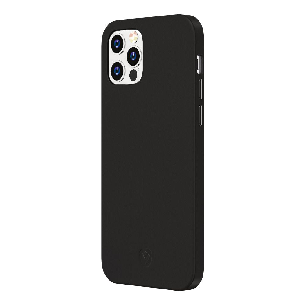 back cover snap luxe leather black iphone 12 12 pro