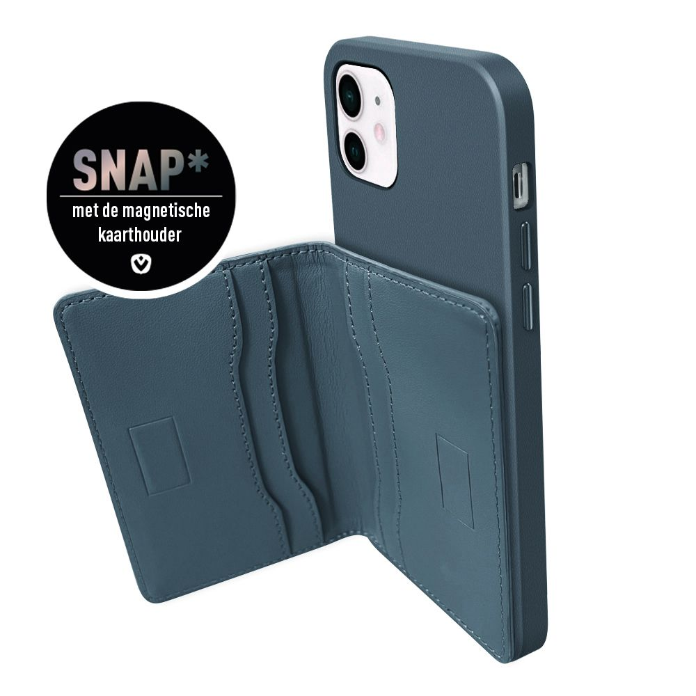back cover snap luxe leer blauw apple iphone 12 mini