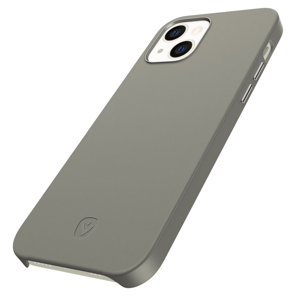 back cover snap luxe leather grey apple iphone 13 mini