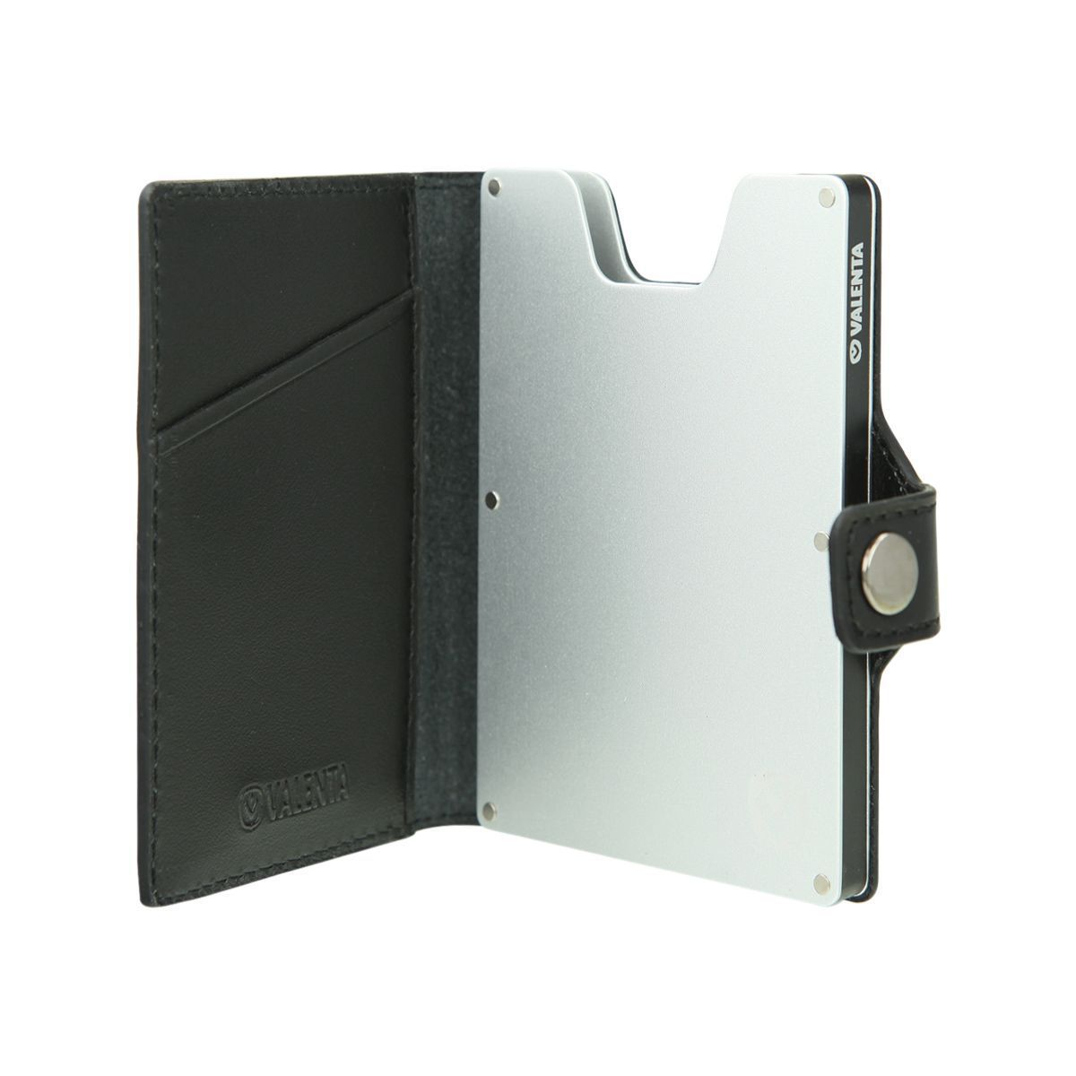 card case wallet black silver