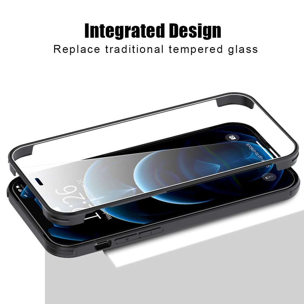 full cover gehrtetes glas bumper schwarz iphone 1212 pro