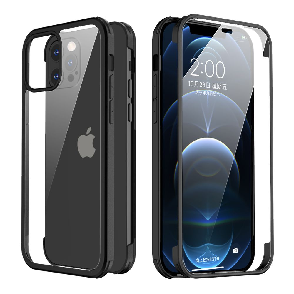 full cover tempered glass bumper black iphone 12 12 pro