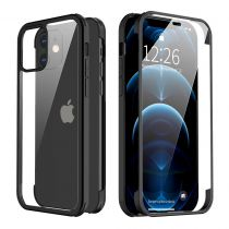 Full Cover Tempered Glass Bumper Zwart iPhone 12 mini