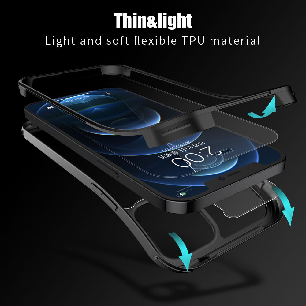 full cover tempered glass bumper zwart iphone 12 pro max