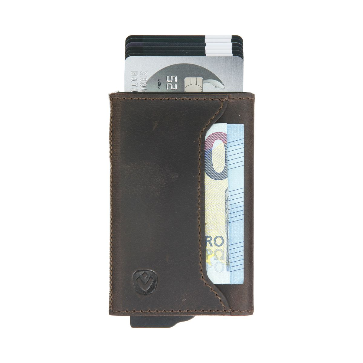 gift set leather with card holder and key organizer brown