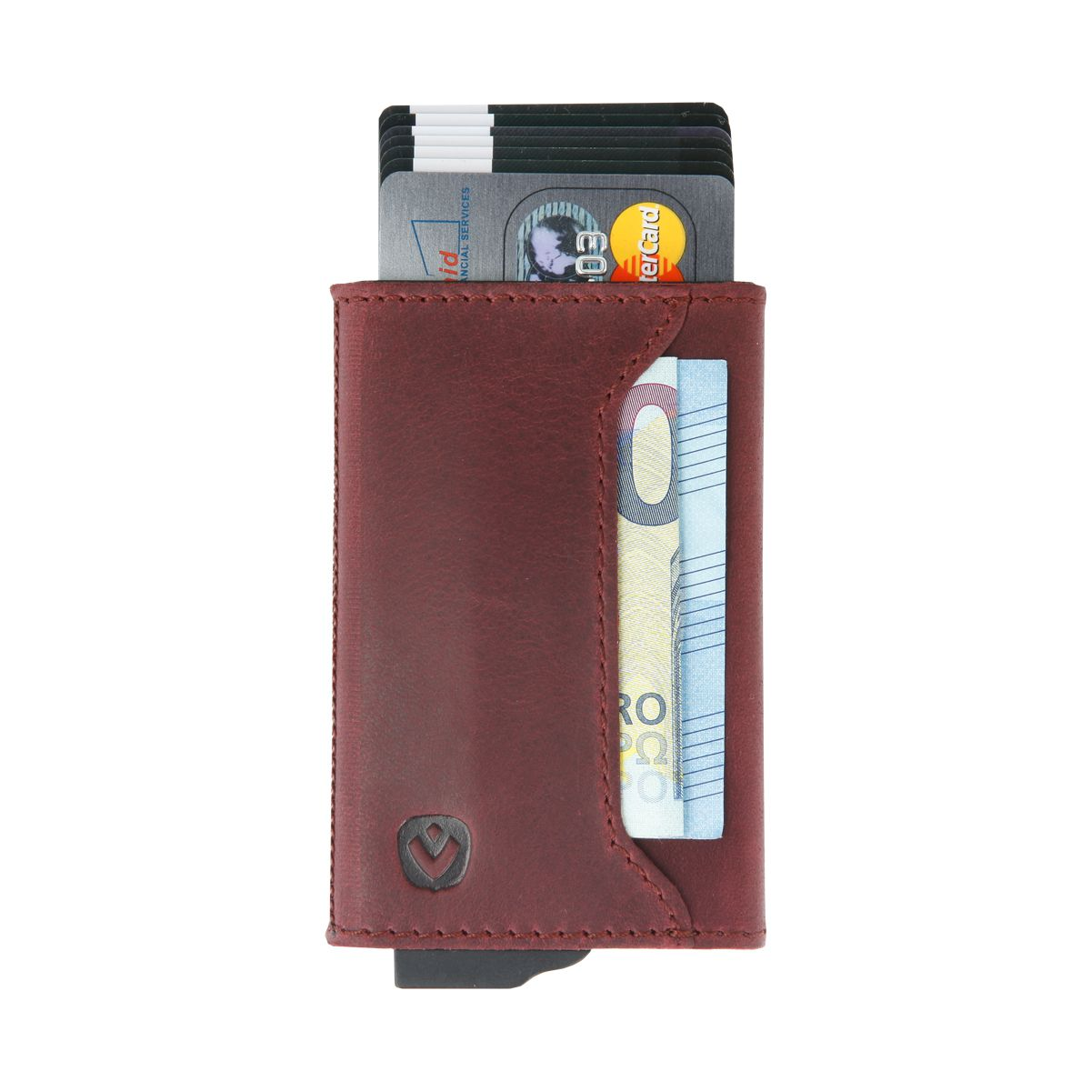 gift set leather with card holder and key organizer burgundy