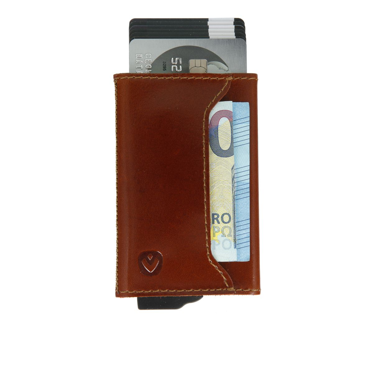 gift set leather with card holder and key organizer cognac brown