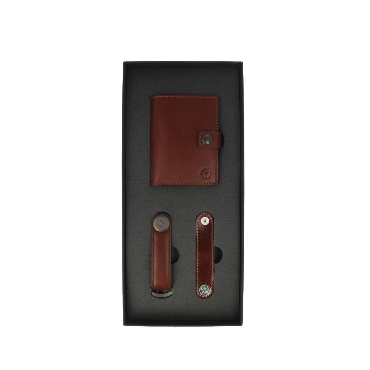gift set leather with card wallet and key organizer brown