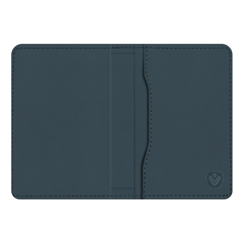 magnetic card wallet snap leather blue
