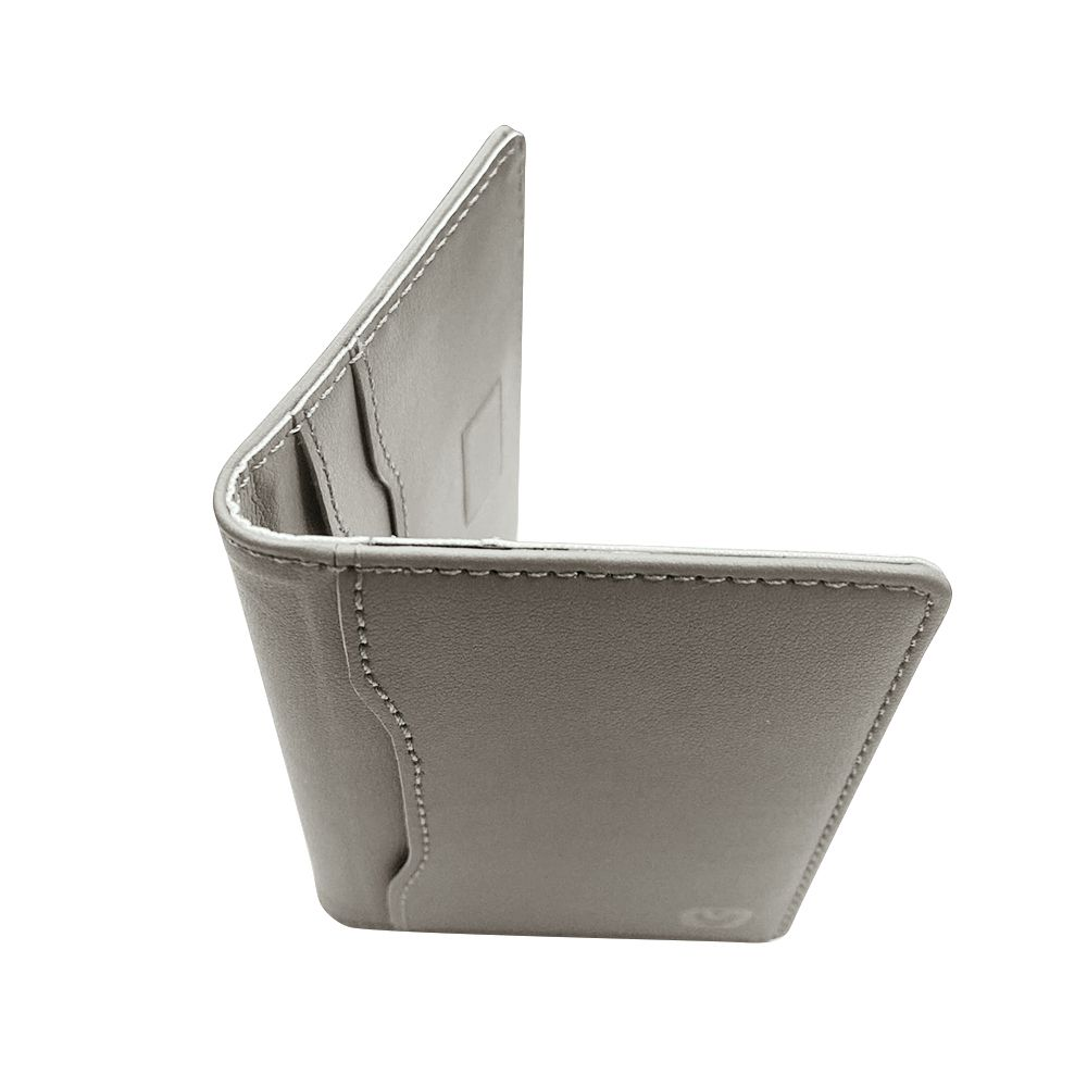 magnetic card wallet snap leather grey