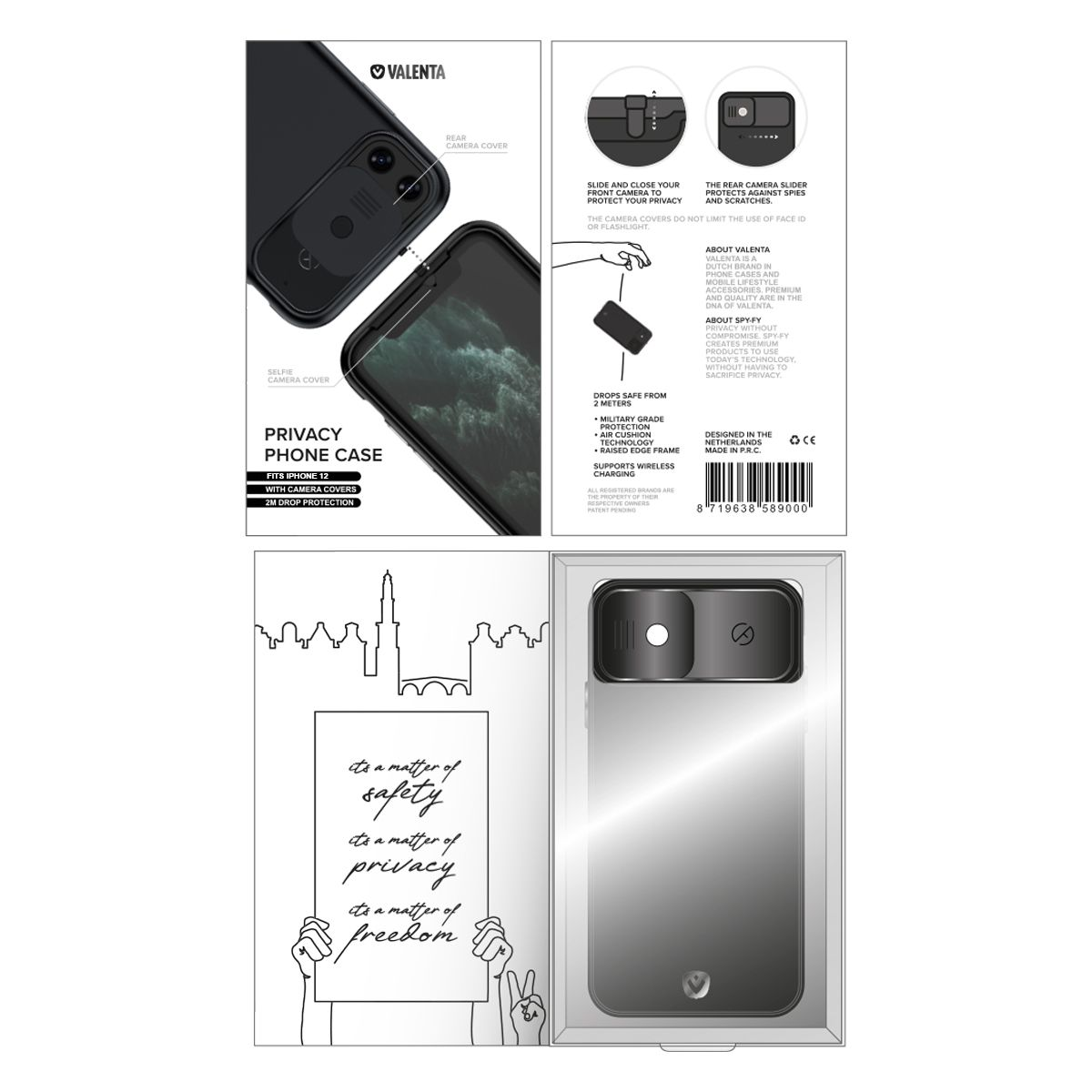 valenta x spyfy privacy cover black iphone 12 mini with camera covers front rear